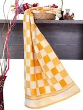Yellow Checkered Cotton Bath Towel - Aqua Pearl