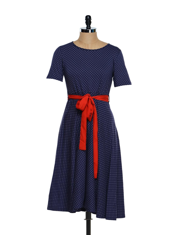 Polka Print Midi Dress - Magnetic Designs