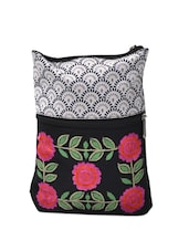 Trendy Black Sling Bag With Floral Embroidery - Pick Pocket