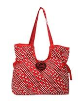 Red Fancy Handbag With Floral Embellishments - Pick Pocket