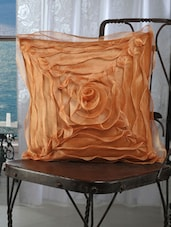 Peach Ruffled Rose Cushion Covers (set Of 5) - Dekor World