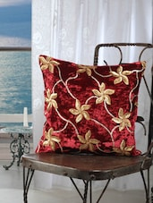 Maroon Velvet Flower Sequence Cushion Cover (set Of 5) - Dekor World