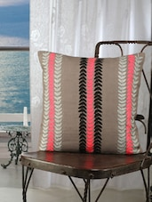 Grey Base Cushion Covers With Pink And Black Leaf Line Embroidery - Dekor World