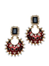 Gorgeous Traditional Drop Earrings In Maroon And Black Glass Finish With Synthetic Pearl Beads - Maayra