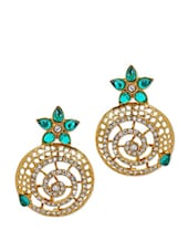 Royal Floral Charming Earrings In Green Crystals - Maayra