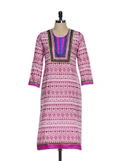 Elegant Pink Cotton Kurta With Colorful Embroidered Patch On The Neck - Tanisi