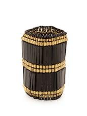 Gold And Black Beaded Handcuff - Voylla