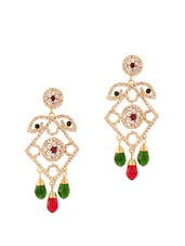 Glitzy Earrings In Red And Green Stones - Voylla