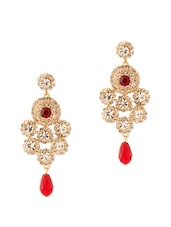Lustrous Pair Of Dangler Earrings With Red Color Stones - Voylla