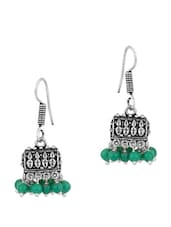 Oxidized Silver Plated Pair Of Jhumki Earrings In Box Shape With Green Beads - Voylla