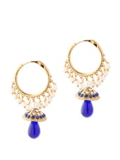 Magnetic Jhumki Earrings Studded With Crystals And Blue Color Stones - Voylla