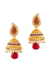 Yellow Gold Plated Earrings With Red Stones - Voylla