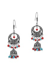 Pretty Jhumki Earrings With Red And Sky Blue Colored Beads - Voylla