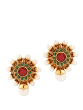 Enthralling Yellow Gold Plated Stud Earrings With Pearls - Voylla