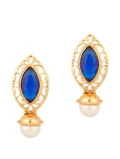 Fascinating Eye Shape Stud Earrings With Pearl And Blue Color Stone - Voylla