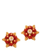 Floral Inspired Stud Earrings With A Pearl Studded In The Center - Voylla