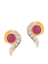 Classic Stud Earrings With CZ And Pink Color Stones - Voylla