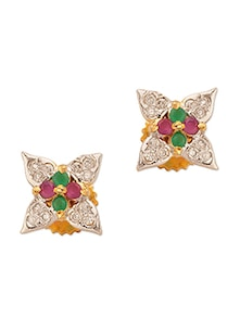 Yellow Gold Plated Floral Motif With Pink And Green Color Stones - Voylla