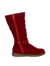 Amazing Red Knee High Suede Boots - Stylistry
