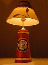 Terracotta Lamp With Madhubani Painting On The Shade - Unravel India