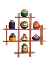 Terracotta Warli Hand painted 8 Pots With Sheesham Wooden Frame -  online shopping for Wall Hanging