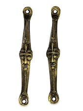 Tribal Two Face Mask  Brass Door Handle(Set Of 2) - Unravel India