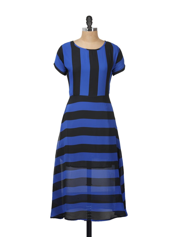 Blue And Black Striped Dress - Meira