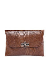 Brown Glossy Envelope Clutch With Snake Skin Texture - Moda
