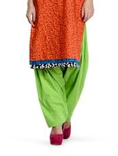 Parrot Green Cotton Patiala Salwar - By