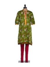 Green Full-sleeved Floral Print Kurta With A Dori Fastening At The Neck, Pink Lycra Churidaar - Nataasha Dubliish