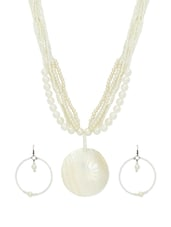 White Beads And Faux Pearls Necklace Set - Laron Handicrafts