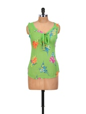 Floral Style Green Tie-up Top - Yepme