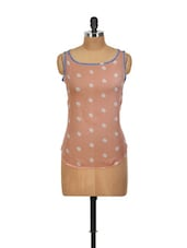 Polka Print Peach High-low Top - Yepme