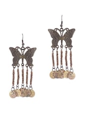 COPPER BUTTERFLY WITH DANGLING COINS EARRINGS - THE BLING STUDIO