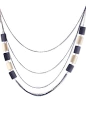 BLACK AND GOLD CHAIN WITH RECTANGULAR BEADS - THE BLING STUDIO