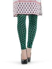 Green And Black Polka Dot Leggings - Tjaggies