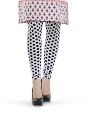 White And Black Polka Dot Leggings - Tjaggies