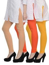 Cotton Lycra Leggings- Pack Of 3 - Tjaggies