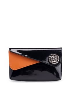 Black And Orange Overlap Flap Clutch - PRINCESSE K