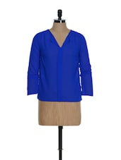 Royal Blue Full-sleeved V-neck Top With A Box Pleat In The Front - La Zoire