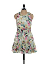 Green Base Multi-coloured Floral Print Dress With A Frilled Base - La Zoire