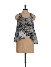 White And Black Printed Trendy Top - La Zoire