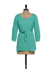Green Three Quarter Sleeved Dress With A Belt - La Zoire