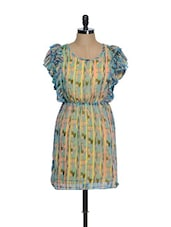 Multi-coloured Printed Dress With Frilled Sleeves - La Zoire