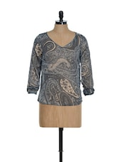 Grey And Beige Paisley Print V-neck Full Sleeved Top - La Zoire