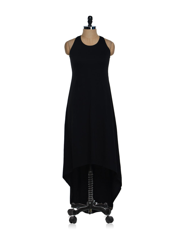Bold Black Asymmetrical Lycra Knit Maxi Dress - Femella