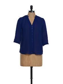 Trendy Blue V-neck Button Down Shirt - Femella