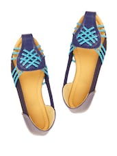 Blue And Black Braided Strap Sandals - ZACHHO