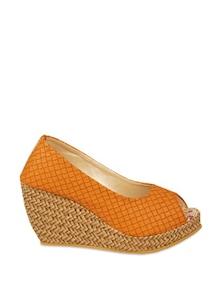 Stylish Orange Peep-toe Wedge Heels - ZACHHO