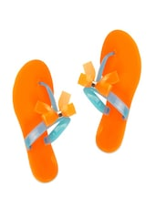 Simple Orange And Blue Slip-ons With A Bow Trim - ZACHHO